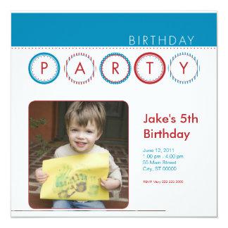 """El fiesta circunda la foto personal - azul y rojo invitación 5.25"""" x 5.25"""""""