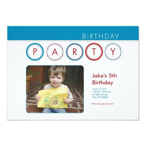 """El fiesta circunda la foto personal - azul y rojo invitación 5"""" x 7"""""""
