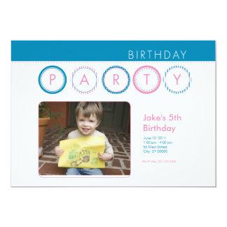 """El fiesta circunda la foto personal - azul y rosa invitación 5"""" x 7"""""""