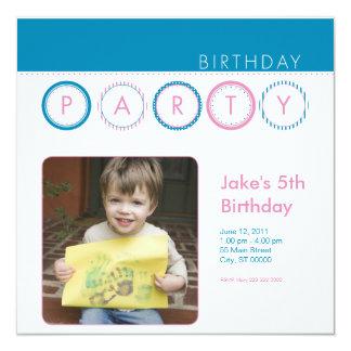 """El fiesta circunda la foto personal - azul y rosa invitación 5.25"""" x 5.25"""""""