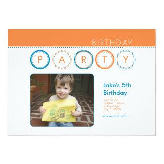 """El fiesta circunda la foto personal - naranja y invitación 5"""" x 7"""""""