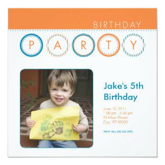 """El fiesta circunda la foto personal - naranja y invitación 5.25"""" x 5.25"""""""