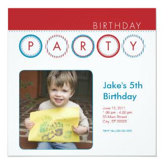 """El fiesta circunda la foto personal - rojo y azul invitación 5.25"""" x 5.25"""""""