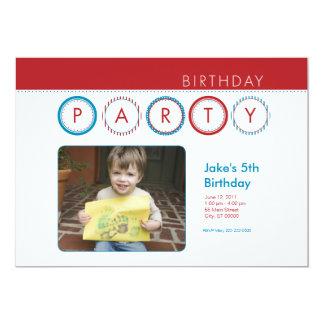 """El fiesta circunda la foto personal - rojo y azul invitación 5"""" x 7"""""""