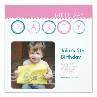 """El fiesta circunda la foto personal - rosa y azul invitación 5.25"""" x 5.25"""""""