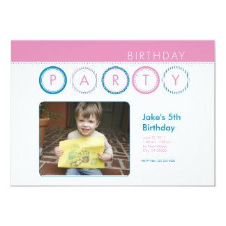 """El fiesta circunda la foto personal - rosa y azul invitación 5"""" x 7"""""""