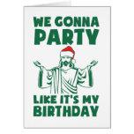 El fiesta como él es un cumpleaños del navidad tarjeta de felicitación