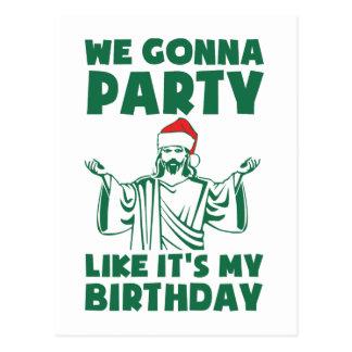 El fiesta como él es un cumpleaños del navidad tarjeta postal