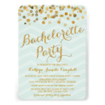 El fiesta de Bachelorette del confeti del oro que  Invitacion Personalizada