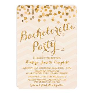 El fiesta de Bachelorette del confeti del oro que Comunicados Personalizados