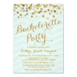 El fiesta de Bachelorette del confeti del oro que Invitaciones Personales