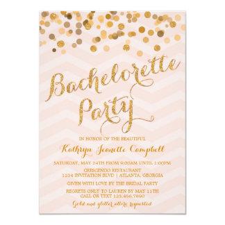 """El fiesta de Bachelorette del confeti del oro que Invitación 4.5"""" X 6.25"""""""