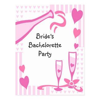 El fiesta de Bachelorette invita Postales