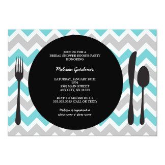 """El fiesta de cena invita/cubierto/turquesa invitación 5"""" x 7"""""""