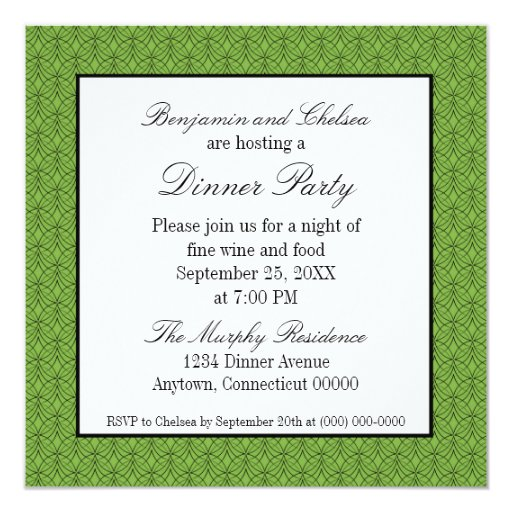 El fiesta de cena retro del metro invita, verde invitación 13,3 cm x 13,3cm