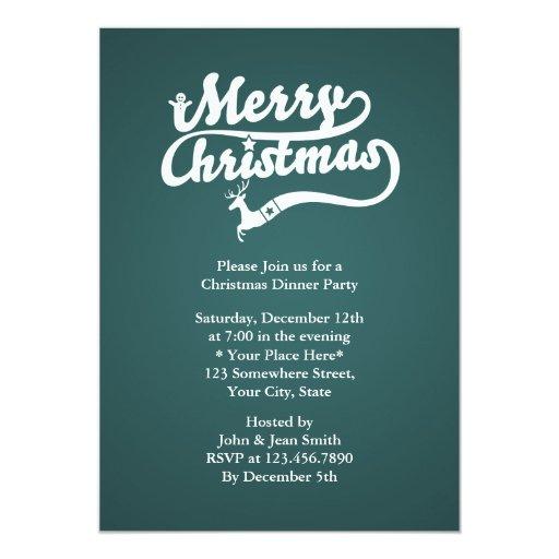 """El fiesta de cena tipográfico verde de navidad invitación 5"""" x 7"""""""