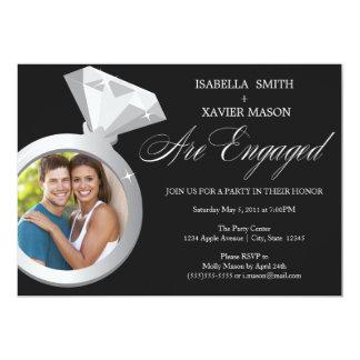 El fiesta de compromiso del anillo de diamante invitación 12,7 x 17,8 cm
