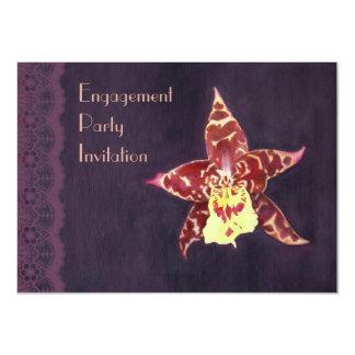 El fiesta de compromiso elegante de la orquídea invitación 11,4 x 15,8 cm
