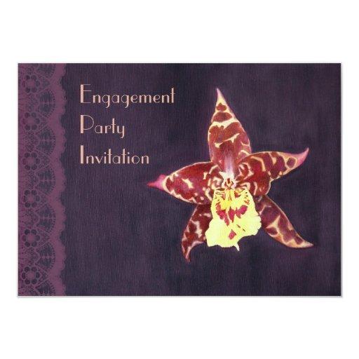 """El fiesta de compromiso elegante de la orquídea invitación 4.5"""" x 6.25"""""""