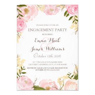 """El fiesta de compromiso floral elegante invita invitación 5"""" x 7"""""""