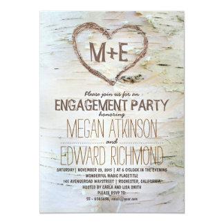 El fiesta de compromiso rústico del corazón del invitacion personalizada