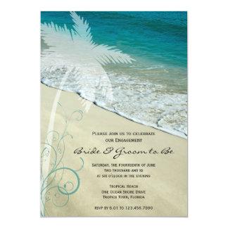 El fiesta de compromiso tropical del boda de playa comunicados personalizados