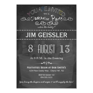 El fiesta de Dadchelor invita en tipografía de la Invitación 12,7 X 17,8 Cm