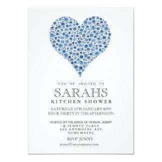 El fiesta de ducha nupcial del corazón azul de los invitación 11,4 x 15,8 cm