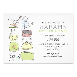El fiesta de ducha nupcial del té de la cocina inv invitación personalizada