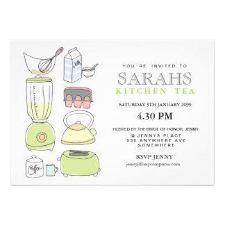 El fiesta de ducha nupcial del té de la cocina inv anuncio personalizado