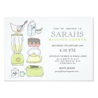 El fiesta de ducha nupcial del té de la cocina invitación 11,4 x 15,8 cm