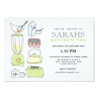 El fiesta de ducha nupcial del té de la cocina invitación 12,7 x 17,8 cm