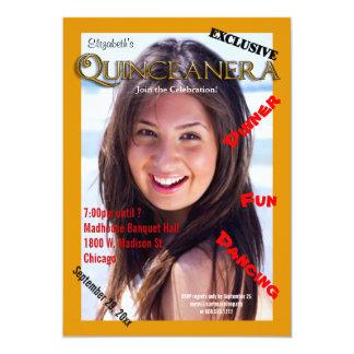 """El fiesta de encargo de Quinceanera del estilo de Invitación 5"""" X 7"""""""