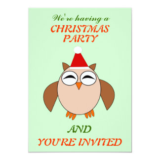El fiesta de encargo del búho lindo del navidad invitación 12,7 x 17,8 cm
