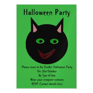 El fiesta de encargo del gato negro de Halloween Invitaciones Magnéticas