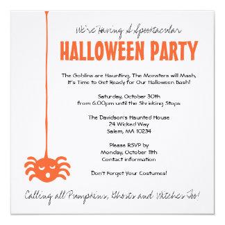 """El fiesta de Halloween de la araña invita con el Invitación 5.25"""" X 5.25"""""""