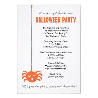 """El fiesta de Halloween de la araña invita con el Invitación 5"""" X 7"""""""