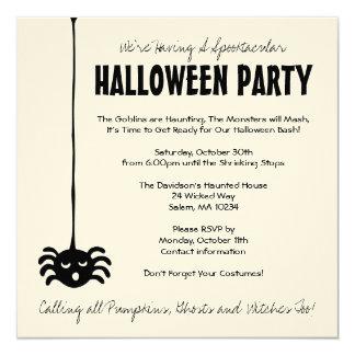 """El fiesta de Halloween de la araña invita en la Invitación 5.25"""" X 5.25"""""""