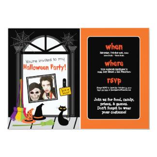 """El fiesta de Halloween de la puerta de Spiderweb Invitación 5"""" X 7"""""""