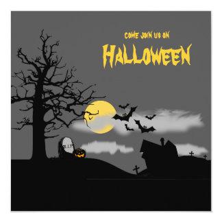 """El fiesta de Halloween de la silueta del Invitación 5.25"""" X 5.25"""""""