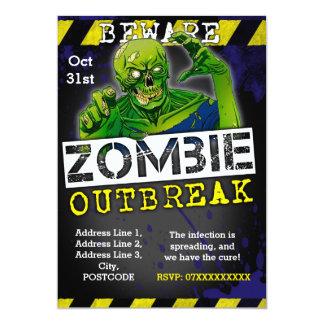 """El fiesta de Halloween del brote del zombi invita Invitación 5"""" X 7"""""""
