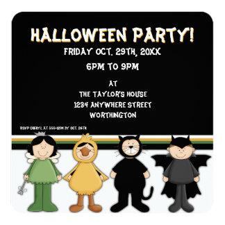 """El fiesta de Halloween del niño de los disfraces Invitación 5.25"""" X 5.25"""""""