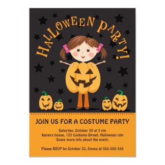 """El fiesta de Halloween invita con el chica de la Invitación 5"""" X 7"""""""