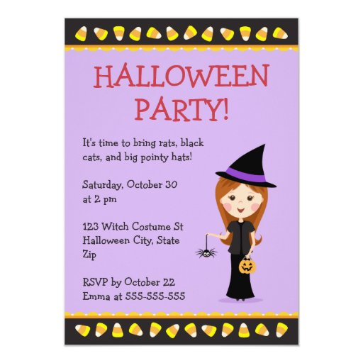 """El fiesta de Halloween invita con poca bruja del Invitación 5"""" X 7"""""""