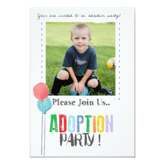 """El fiesta de la adopción invita invitación 3.5"""" x 5"""""""