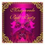El fiesta de la bola de mascarada enmascara el oro invitación personalizada