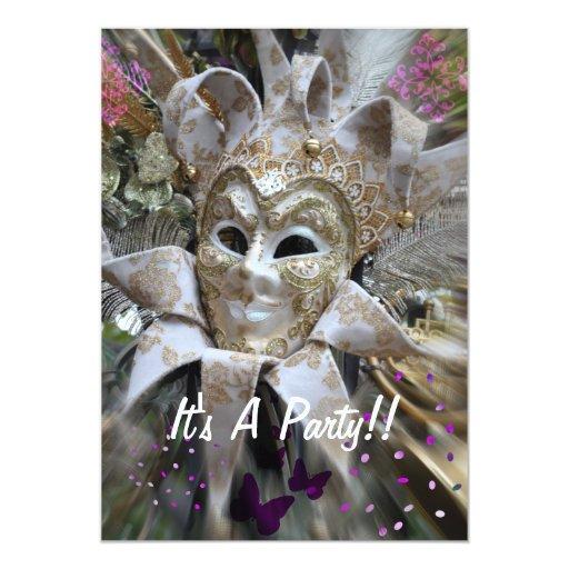 El fiesta de la mascarada invita comunicado personalizado