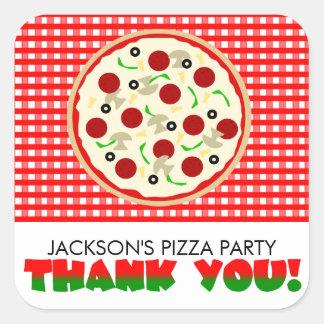 El fiesta de la pizza le agradece favorecer a los pegatina cuadrada