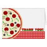 El fiesta de la pizza le agradece tarjeta de nota