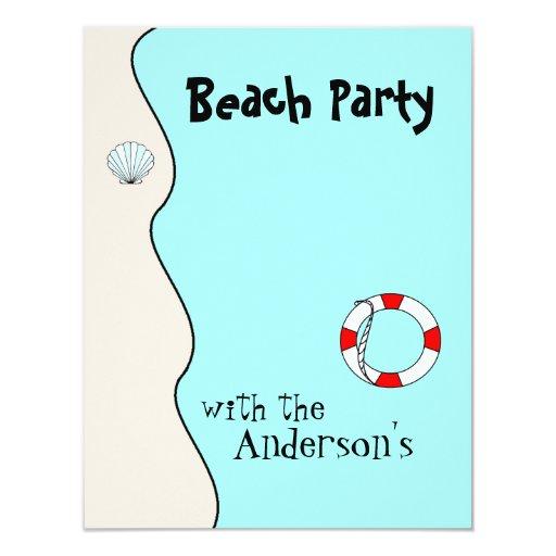 El fiesta de la playa invita invitacion personalizada